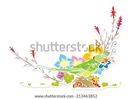 parrot and flower colorful
