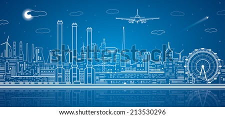 vector lines power plant on the