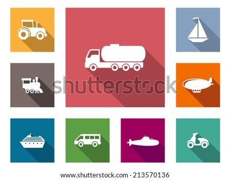 flat transportation icons set
