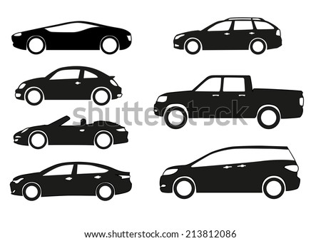 silhouette cars on a white