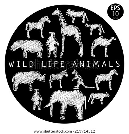 animals wild life black and