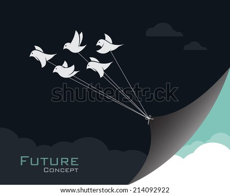 vector image of birds changing