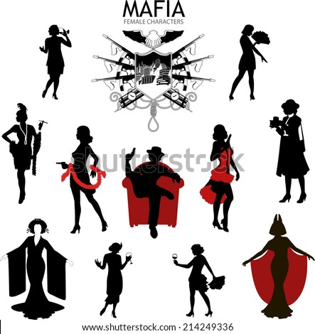 set of female silhouettes retro