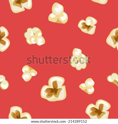 seamless popcorn pattern on red
