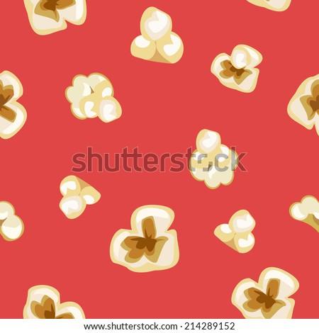 seamless popcorn pattern on red