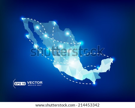 mexico country map polygonal
