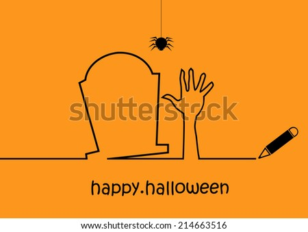 happy halloween outline vector