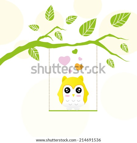 decorative vector owl and twig