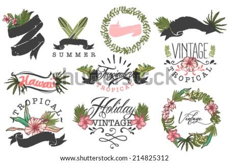 set of ten hawaii logos