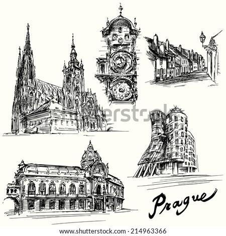 prague   hand drawn illustration