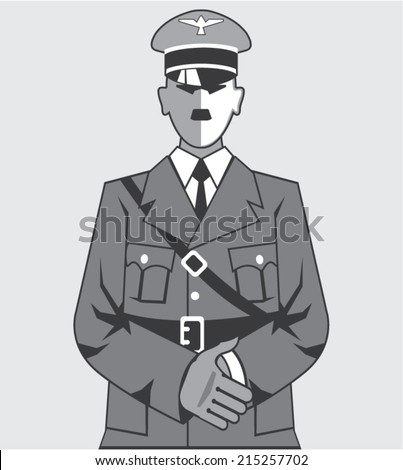hitler cartoon simplified vector