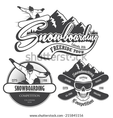 set of snowboarding emblems