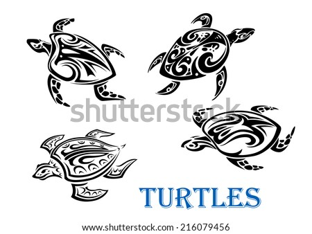 swimming turtles set in tribal