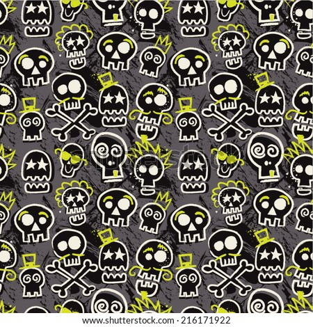 sketchy skull seamless repeat
