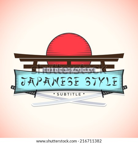 color japan style sign vector