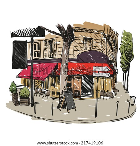 cafe hand drawn  vector