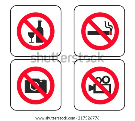various forbidden signs vector