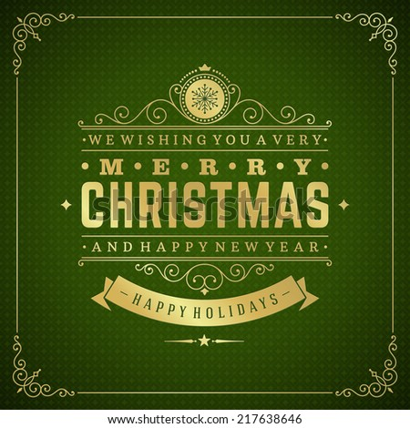 christmas retro typography and