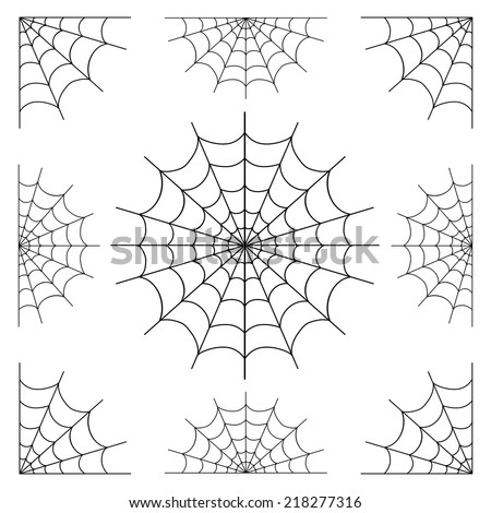 set of spiderweb black isolated