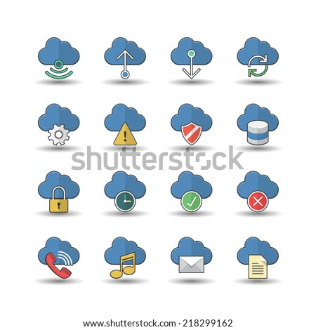 flat color style cloud computer