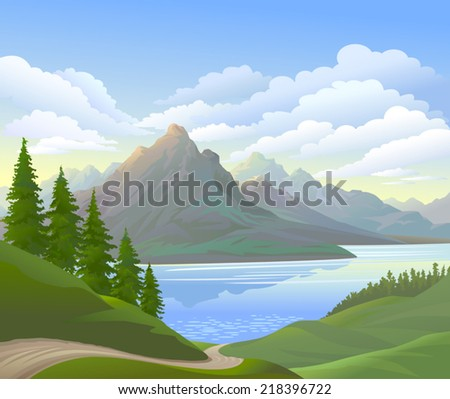 vector landscape and river