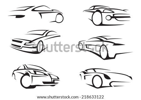 set of six monochrome cars