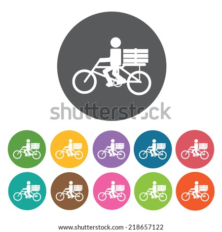 newsboy bicycle delivery icon