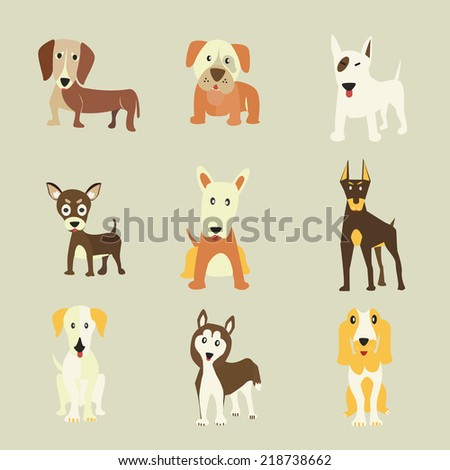 set of dogs icons vector