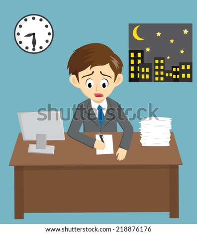 tired businessman working late