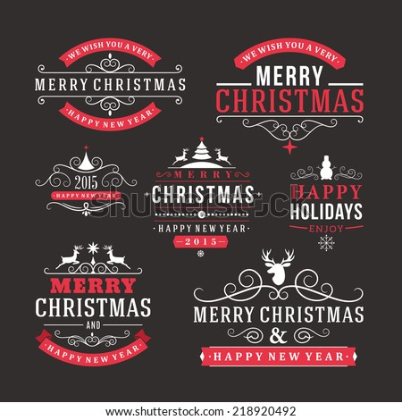 stock-vector-christmas-decoration-set-of-calligraphic-and-typographic-design-elements-labels-symbols-icons