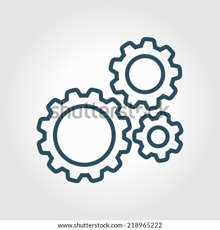 icon of gears flat style