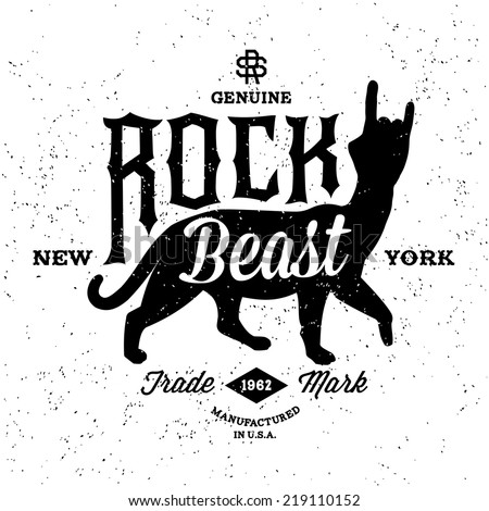 vintage label rock beast   t