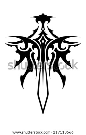winged sharp sword tribal style