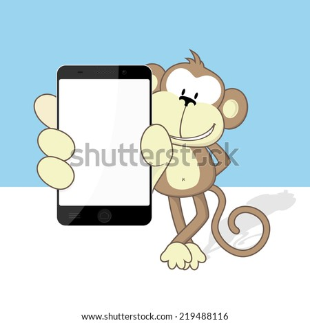 smiling monkey with smart phone