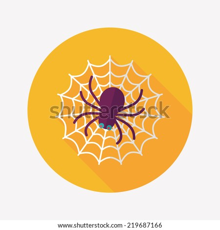halloween spider flat icon with