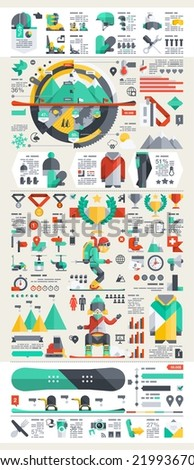snowboard and ski infographic