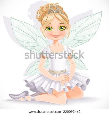 cute fairy girl in white dress