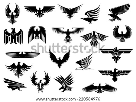 heraldic black eagles  falcons