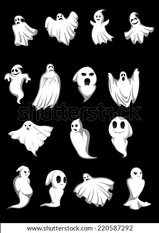 white halloween ghosts and