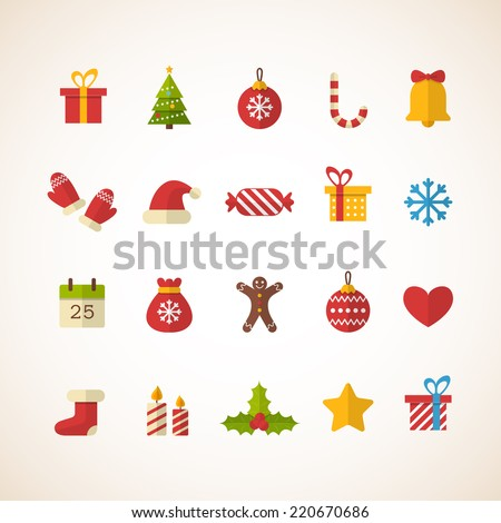 set of flat christmas icons