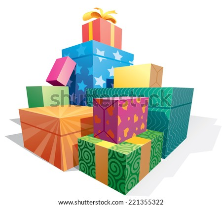 pile of gift boxes eps8 cmyk