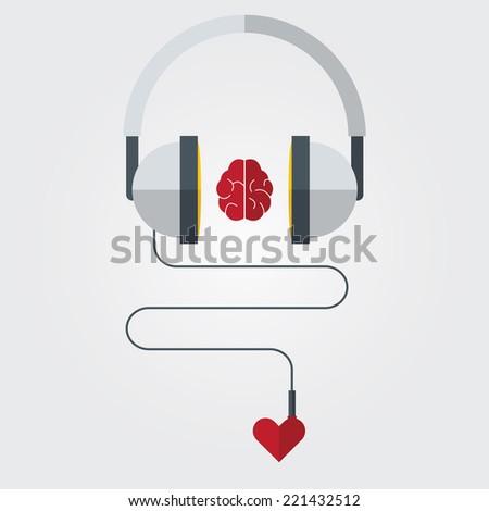 headphone with brain and heart
