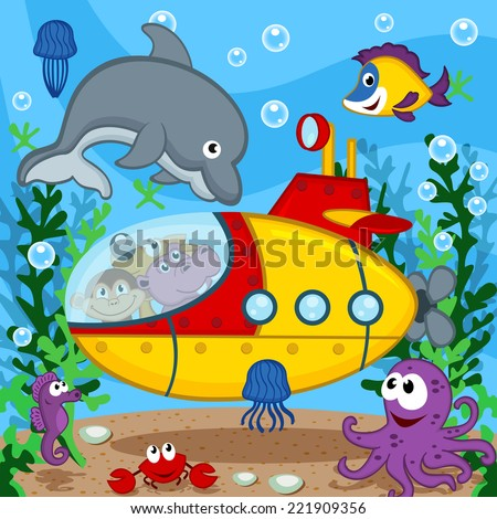 animals on submarine   vector