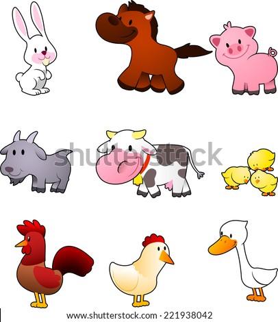 nine cartoon farm animals like