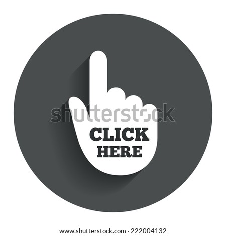 click here hand sign icon