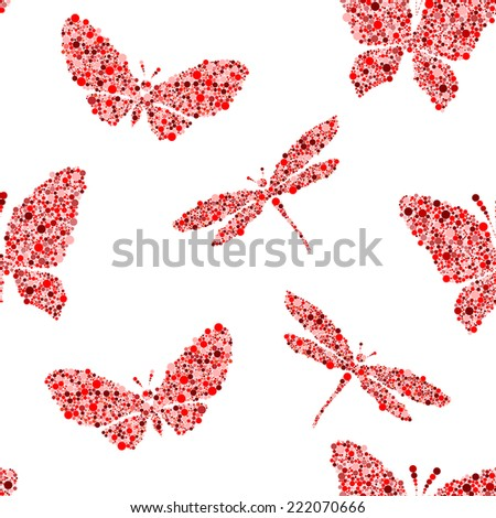 red butterfly and dragonfly on