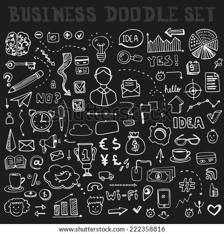 set of business doodle elements