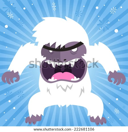 angry shouting yeti vector