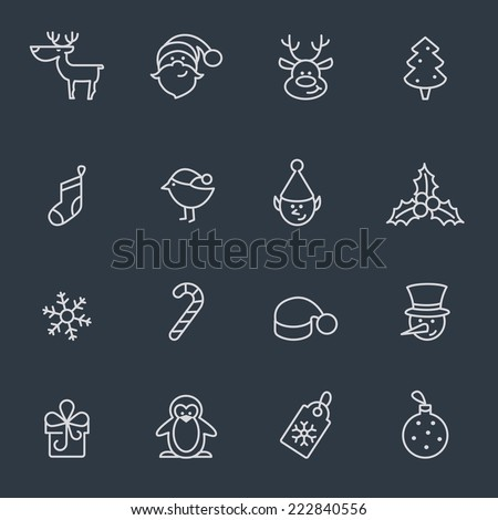 thin line  icons for christmas