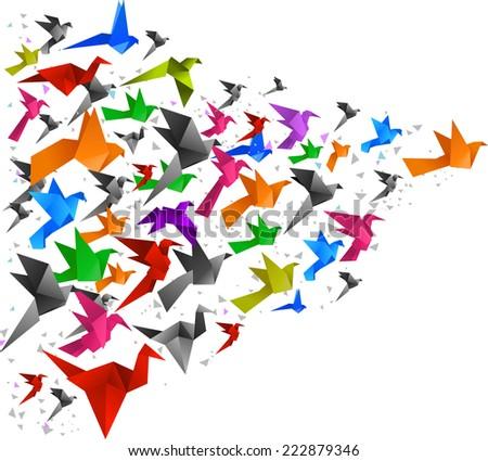 origami birds flying upwards